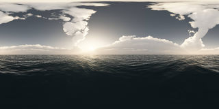 Panorama above the ocean at sunset Royalty Free Stock Photography