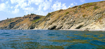 Panorama above the surface. Panorama just above the surface with cliffs and sea Stock Image