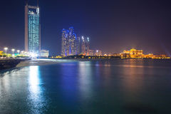 Panorama of Abu Dhabi at night, UAE Royalty Free Stock Photo