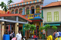 Panorama of activities in Little India, Singapore. Colorful facade of building in Little India, Singapore which is deep in traditional culture value of the Stock Photos