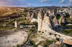 Panorama ad alba in Cappadocia Fotografia Stock Libera da Diritti