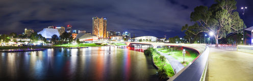 Panorama of Adelaide in South Australia at night Stock Image