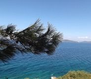 Panorama Aegean Bodrum Turkey. Aegean see from coast of Bodrum Turkey Royalty Free Stock Photo