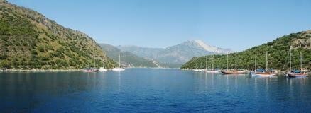 Panorama of aegean sea coast with yachts turkey. Aegean sea landscape view of sea with yachts Stock Photo