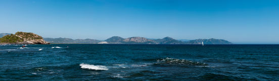 Panorama of the Aegean Sea and Taurus Mountains of Dalaman in Turkey Royalty Free Stock Photo
