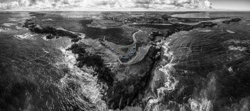 Panorama aereo in bianco e nero dell'allerta e della guerra del punto di tuono Immagine Stock Libera da Diritti