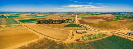 Panorama aereo dei campi del raccolto Fotografia Stock