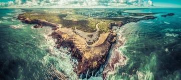 Panorama aereo dell'allerta e di Warrnambool del punto di tuono Fotografie Stock