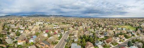 Panorama aereo di Fort Collins Fotografie Stock Libere da Diritti
