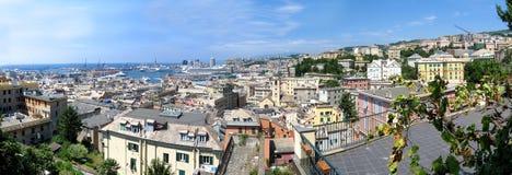 Panorama aereo di Genova, Italia immagine stock libera da diritti