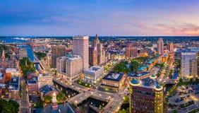Panorama aereo di provvidenza, Rhode Island immagine stock libera da diritti