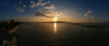 Panorama aerial drone photography view at pantai bersih , butterworth. Panorama sunset view at pantai bersih shooting with dorne direction to penang island view Stock Images