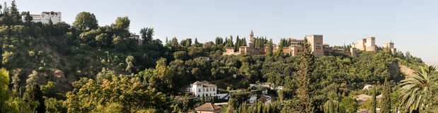 Panorama of aerial view of Alhambra Royalty Free Stock Photo