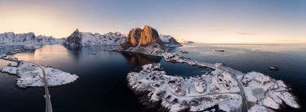 Panorama aerial view of archipelago of arctic ocean with fishing. Village in winter at Hamnoy, Lofoten islands, Norway royalty free stock photography