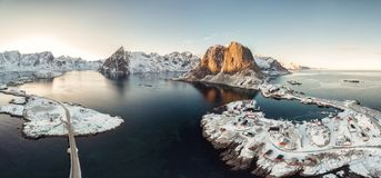 Panorama aerial view of archipelago of arctic ocean with fishing village in winter. At Hamnoy, Lofoten islands, Norway stock image