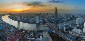 Panorama aerial view Bangkok city river curved Stock Image
