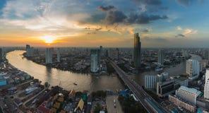 Panorama, aerial view Bangkok river curved Stock Photo
