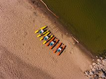 Panorama aerial view on the beach, catamarans, water bicycle Royalty Free Stock Photo