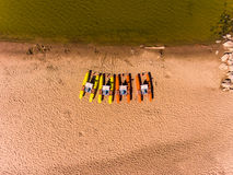 Panorama aerial view on the beach, catamarans, water bicycle Royalty Free Stock Image