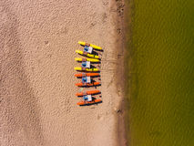 Panorama aerial view on the beach, catamarans, water bicycle Royalty Free Stock Images