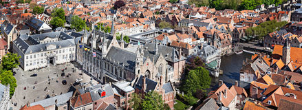 Panorama of aerial view of Bruges (Brugge), Belgium Stock Photography