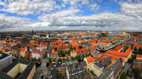 Panorama aerial view of Copenhagen, Denmark Stock Image