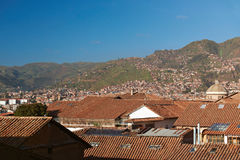Panorama aerial view on Cusco city Royalty Free Stock Photos