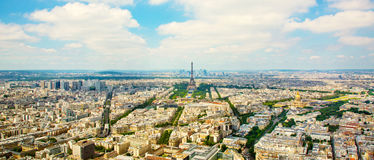 Panorama aerial View on Eiffel Tower in Paris Royalty Free Stock Photo