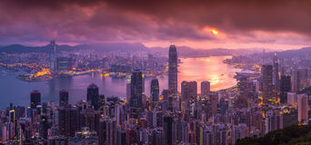 Panorama Aerial view of Hong Kong skyline from Victoria Peak Royalty Free Stock Image