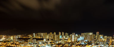 Panorama aerial view of Honolulu city lights Stock Photography