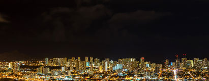 Panorama aerial view of Honolulu city lights