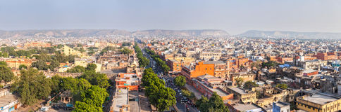Panorama of aerial view of Jaipur, Rajasthan, India Stock Image