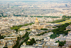 Panorama aerial View on Les Invalides in Paris, FRANCE. PARIS, FRANCE, Panorama aerial View on Les Invalides from the Montparnasse tower. Cityscape Stock Image