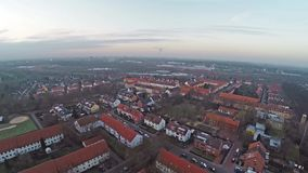 Panorama aerial view of Lindenbergsiedlung in Brunswick Braunschweig Germany on cloudy day. Panorama aerial view of Lindenbergsiedlung in Brunswick Braunschweig stock footage