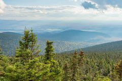 Panorama aerial view from Megantic Mount, Canada. Panorama aerial view from Megantic Mount in the Eastern Townships, Quebec Province, Canada royalty free stock images