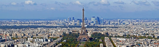 Panorama with aerial view, from Montparnasse tower, with Eiffel Royalty Free Stock Photography