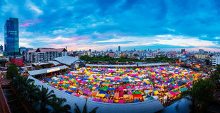 Panorama aerial view of Multi-colored tents in Rod-Fai market (s Stock Photo