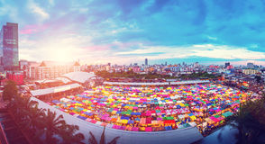 Panorama aerial view of Multi-colored tents in Rod-Fai market at Royalty Free Stock Photography