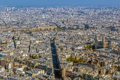 Panorama and aerial view of Paris. From Montparnasse tower Royalty Free Stock Photography