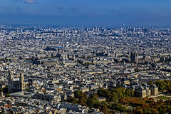Panorama and aerial view of Paris, from Montparnasse tower Stock Photography