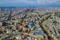 Panorama and aerial view of Paris, from Montparnasse tower Royalty Free Stock Photography