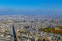 Panorama and aerial view of Paris. From Montparnasse tower Royalty Free Stock Images