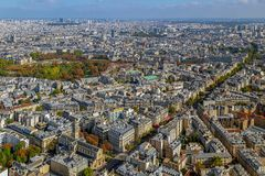 Panorama and aerial view of Paris. From Montparnasse tower Royalty Free Stock Image