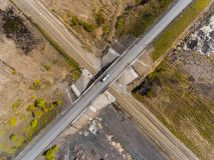 Panorama aerial view shot on the road bridge over railway Stock Image