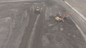 Panorama aerial view shot UHD 4K, open pit mine, breed sorting, mining coal, extractive industry stock video footage