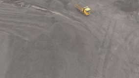 Panorama aerial view shot UHD 4K, open pit mine, breed sorting, mining coal, extractive industry stock footage
