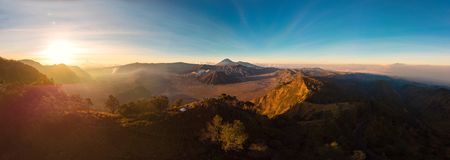 Panorama Aerial view of Sunrise over the Mountain Bromo active v. Olcano crater in East Jawa, Indonesia. Aerial view of volcano crater Mount Gunung Bromo is an stock image