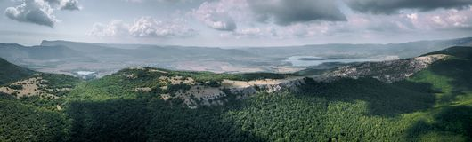 360 panorama aerial view of valley with lake among mountains in summer with sky royalty free stock photography