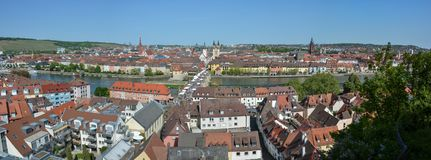 Panorama aerial view on Wuerzburg with the. `alte Mainbruecke` on a sunny day and blue sky Stock Photos