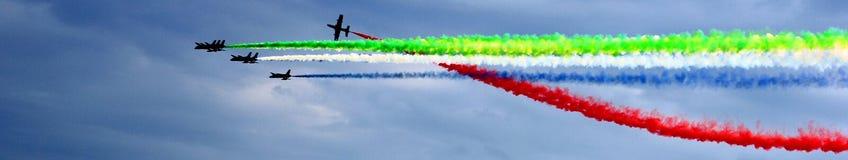Panorama aerobatic de Airshow MAKS 2017 em Rússia Foto de Stock
